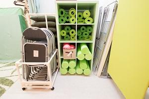 国分寺 レンタルスタジオ はヨガマット、椅子、机などが無料で使えます。
